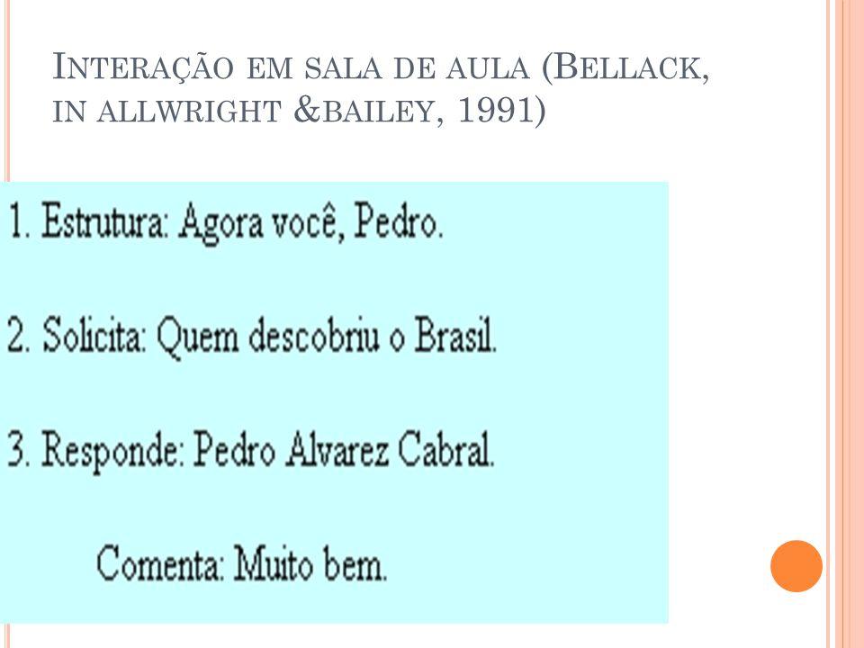 I NTERAÇÃO EM SALA DE AULA (B ELLACK, IN ALLWRIGHT & BAILEY, 1991)