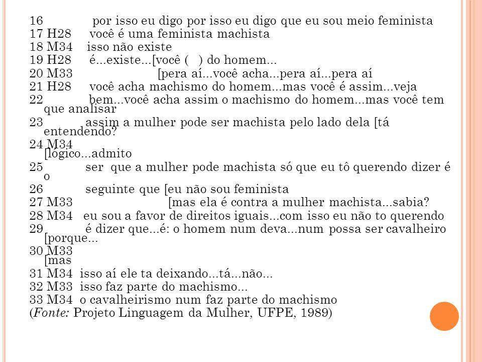 16 por isso eu digo por isso eu digo que eu sou meio feminista 17 H28 você é uma feminista machista 18 M34 isso não existe 19 H28 é...existe...[você (