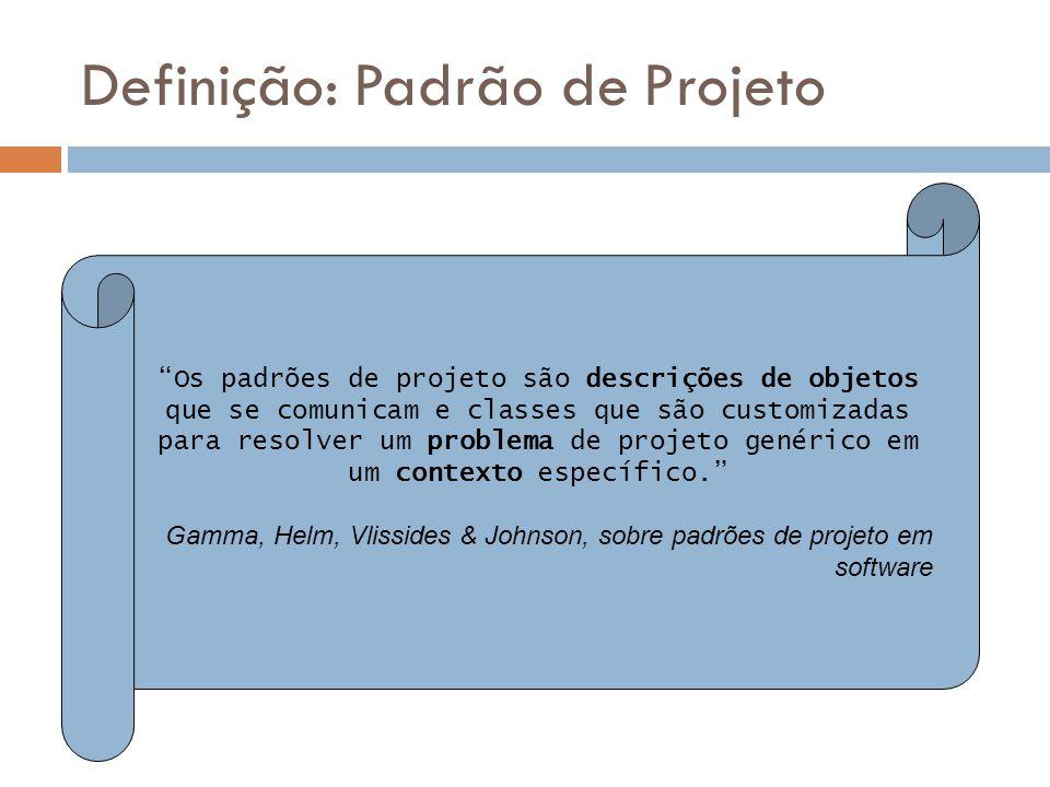 Definição: Padrão de Projeto Os padrões de projeto são descrições de objetos que se comunicam e classes que são customizadas para resolver um problema de projeto genérico em um contexto específico.