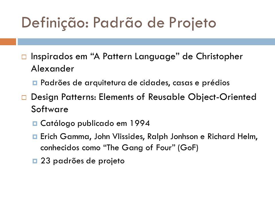 Definição: Padrão de Projeto Inspirados em A Pattern Language de Christopher Alexander Padrões de arquitetura de cidades, casas e prédios Design Patte