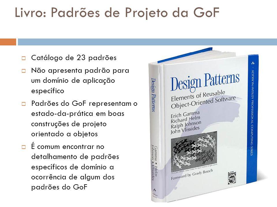 Livro: Padrões de Projeto da GoF Catálogo de 23 padrões Não apresenta padrão para um domínio de aplicação específico Padrões do GoF representam o estado-da-prática em boas construções de projeto orientado a objetos É comum encontrar no detalhamento de padrões específicos de domínio a ocorrência de algum dos padrões do GoF