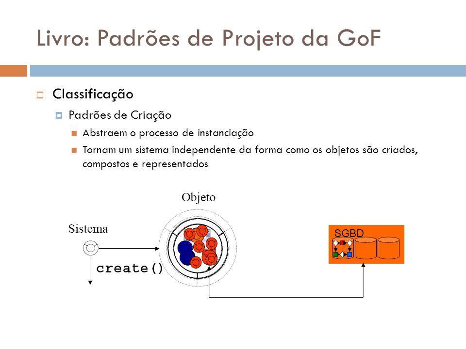 Livro: Padrões de Projeto da GoF Classificação Padrões de Criação Abstraem o processo de instanciação Tornam um sistema independente da forma como os objetos são criados, compostos e representados