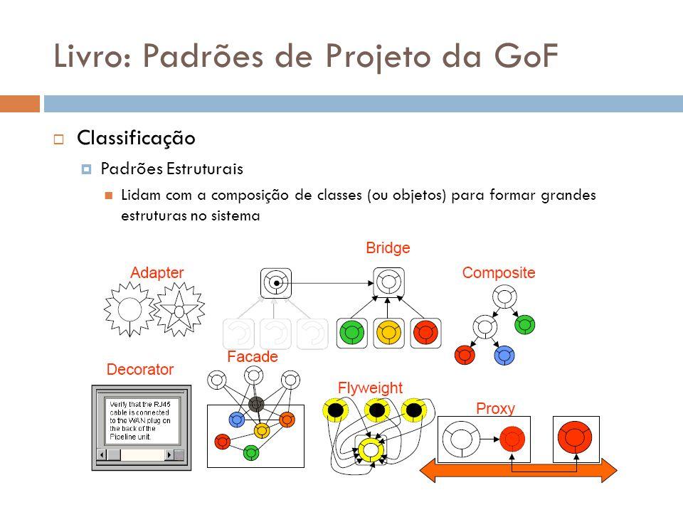 Livro: Padrões de Projeto da GoF Classificação Padrões Estruturais Lidam com a composição de classes (ou objetos) para formar grandes estruturas no si