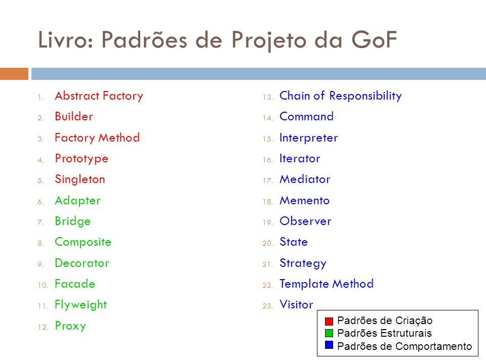 Livro: Padrões de Projeto da GoF 1. Abstract Factory 2. Builder 3. Factory Method 4. Prototype 5. Singleton 6. Adapter 7. Bridge 8. Composite 9. Decor