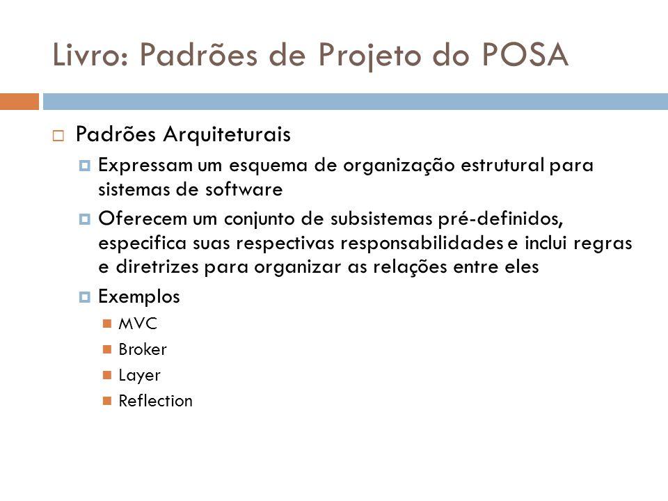 Livro: Padrões de Projeto do POSA Padrões Arquiteturais Expressam um esquema de organização estrutural para sistemas de software Oferecem um conjunto de subsistemas pré-definidos, especifica suas respectivas responsabilidades e inclui regras e diretrizes para organizar as relações entre eles Exemplos MVC Broker Layer Reflection