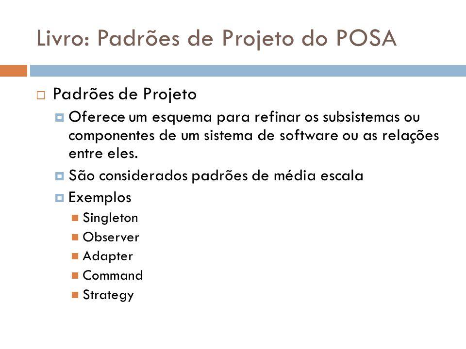 Livro: Padrões de Projeto do POSA Padrões de Projeto Oferece um esquema para refinar os subsistemas ou componentes de um sistema de software ou as rel