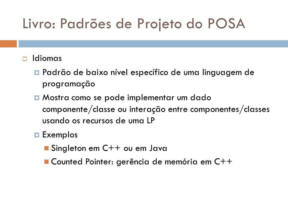 Livro: Padrões de Projeto do POSA Idiomas Padrão de baixo nível específico de uma linguagem de programação Mostra como se pode implementar um dado componente/classe ou interação entre componentes/classes usando os recursos de uma LP Exemplos Singleton em C++ ou em Java Counted Pointer: gerência de memória em C++