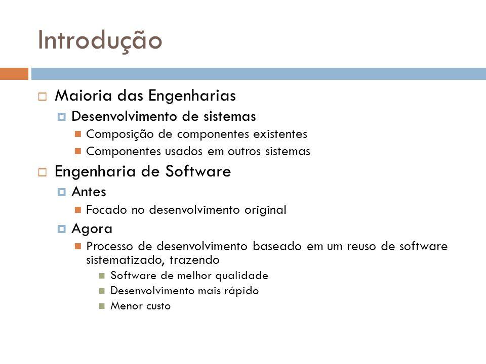 Engenharia de Software baseada em Reuso Reuso de Sistemas Incorporação de um sistema, sem alterá-lo, em outro sistema (COTS) Desenvolvimento de famílias de aplicações Reuso de Componentes Sub-sistemas de uma aplicação a simples objetos Reuso de Objetos e Funções Objetos simples e bem definidos Funções
