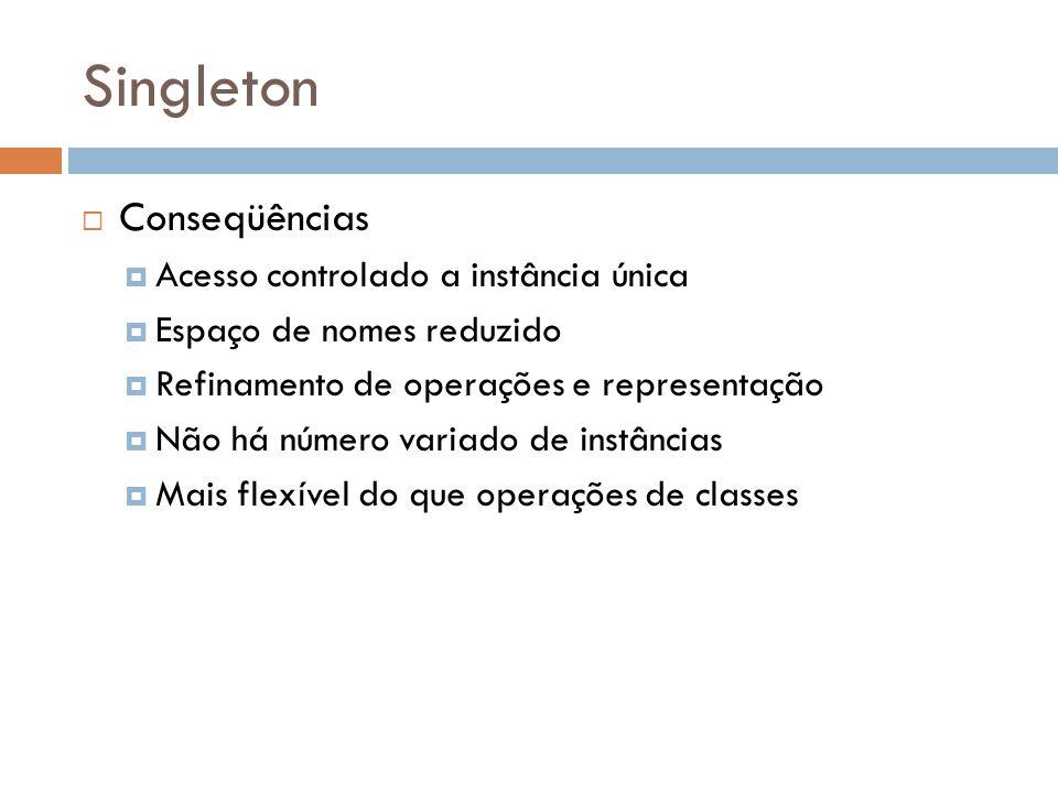 Singleton Conseqüências Acesso controlado a instância única Espaço de nomes reduzido Refinamento de operações e representação Não há número variado de