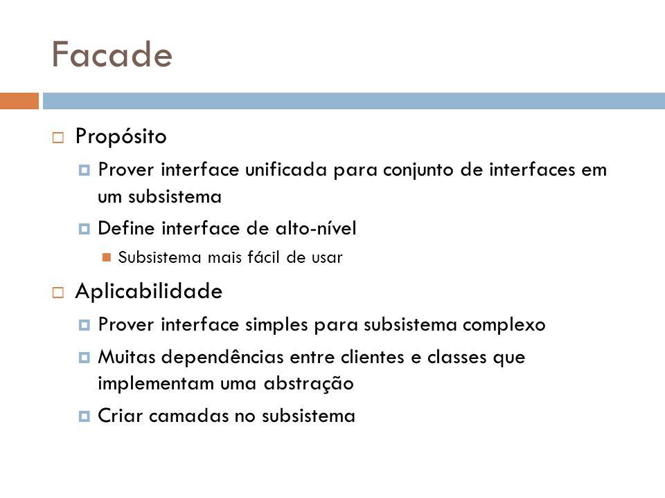 Facade Propósito Prover interface unificada para conjunto de interfaces em um subsistema Define interface de alto-nível Subsistema mais fácil de usar