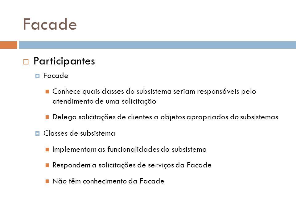 Facade Participantes Facade Conhece quais classes do subsistema seriam responsáveis pelo atendimento de uma solicitação Delega solicitações de clientes a objetos apropriados do subsistemas Classes de subsistema Implementam as funcionalidades do subsistema Respondem a solicitações de serviços da Facade Não têm conhecimento da Facade