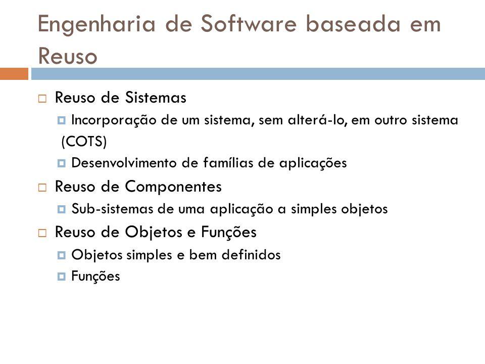 Engenharia de Software baseada em Reuso Reuso de Sistemas Incorporação de um sistema, sem alterá-lo, em outro sistema (COTS) Desenvolvimento de famíli