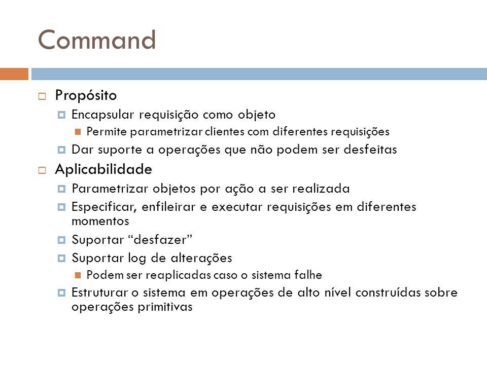 Command Propósito Encapsular requisição como objeto Permite parametrizar clientes com diferentes requisições Dar suporte a operações que não podem ser