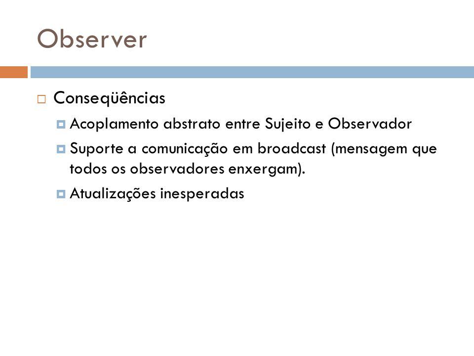 Observer Conseqüências Acoplamento abstrato entre Sujeito e Observador Suporte a comunicação em broadcast (mensagem que todos os observadores enxergam).