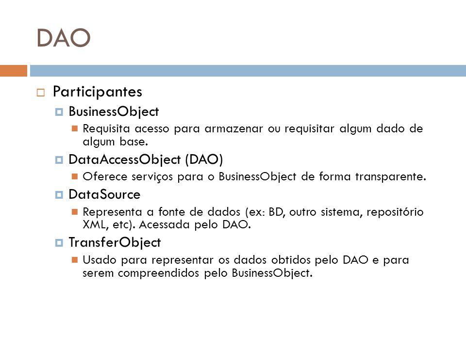 DAO Participantes BusinessObject Requisita acesso para armazenar ou requisitar algum dado de algum base. DataAccessObject (DAO) Oferece serviços para