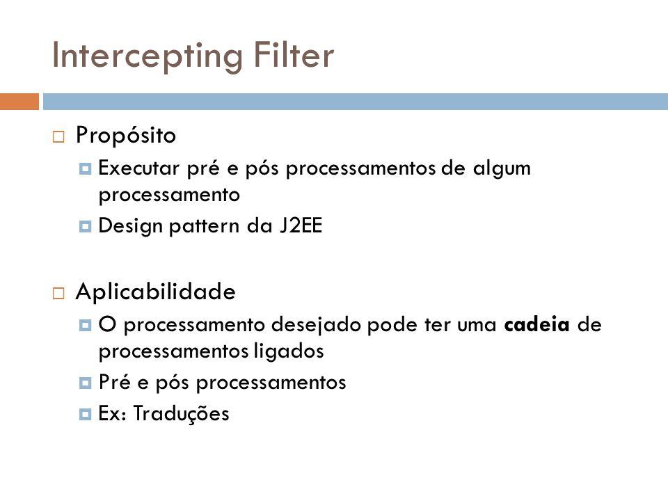 Intercepting Filter Propósito Executar pré e pós processamentos de algum processamento Design pattern da J2EE Aplicabilidade O processamento desejado pode ter uma cadeia de processamentos ligados Pré e pós processamentos Ex: Traduções