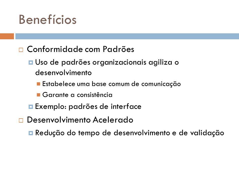 Benefícios Conformidade com Padrões Uso de padrões organizacionais agiliza o desenvolvimento Estabelece uma base comum de comunicação Garante a consistência Exemplo: padrões de interface Desenvolvimento Acelerado Redução do tempo de desenvolvimento e de validação
