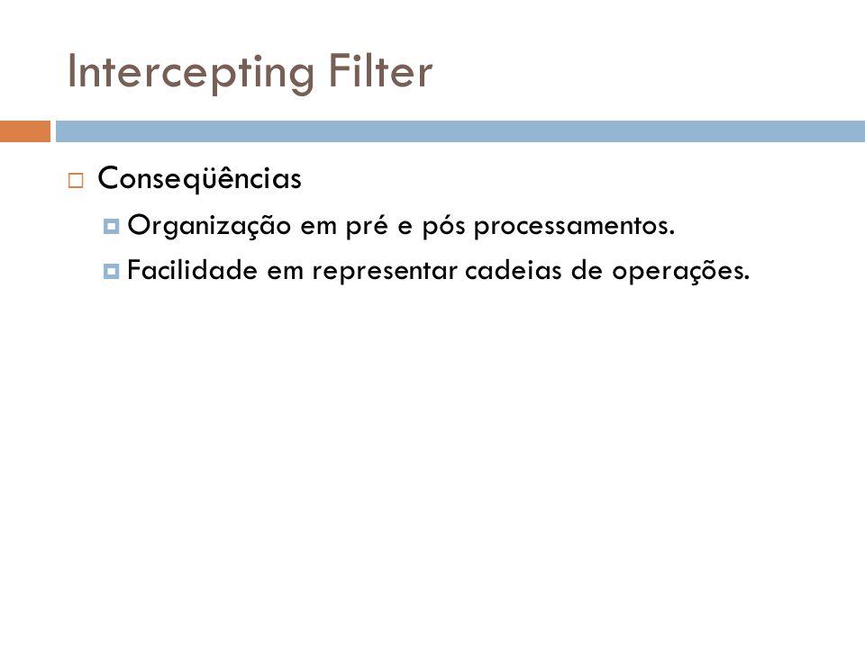 Intercepting Filter Conseqüências Organização em pré e pós processamentos. Facilidade em representar cadeias de operações.
