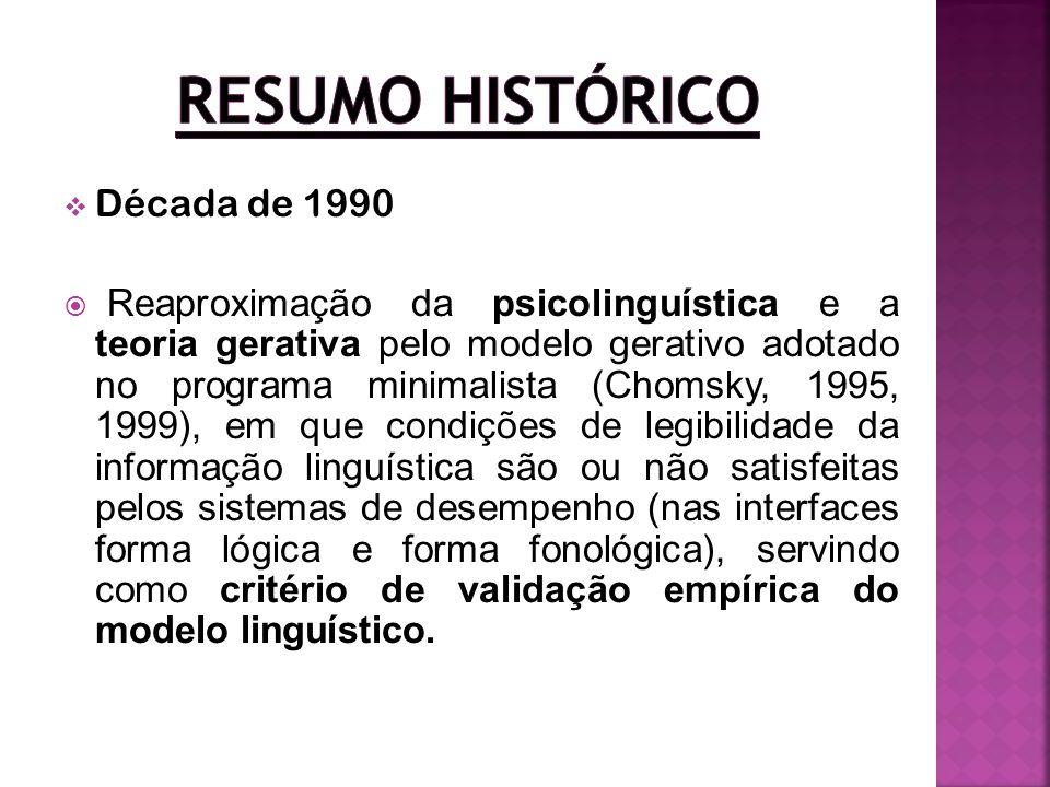 Década de 1990 Reaproximação da psicolinguística e a teoria gerativa pelo modelo gerativo adotado no programa minimalista (Chomsky, 1995, 1999), em qu