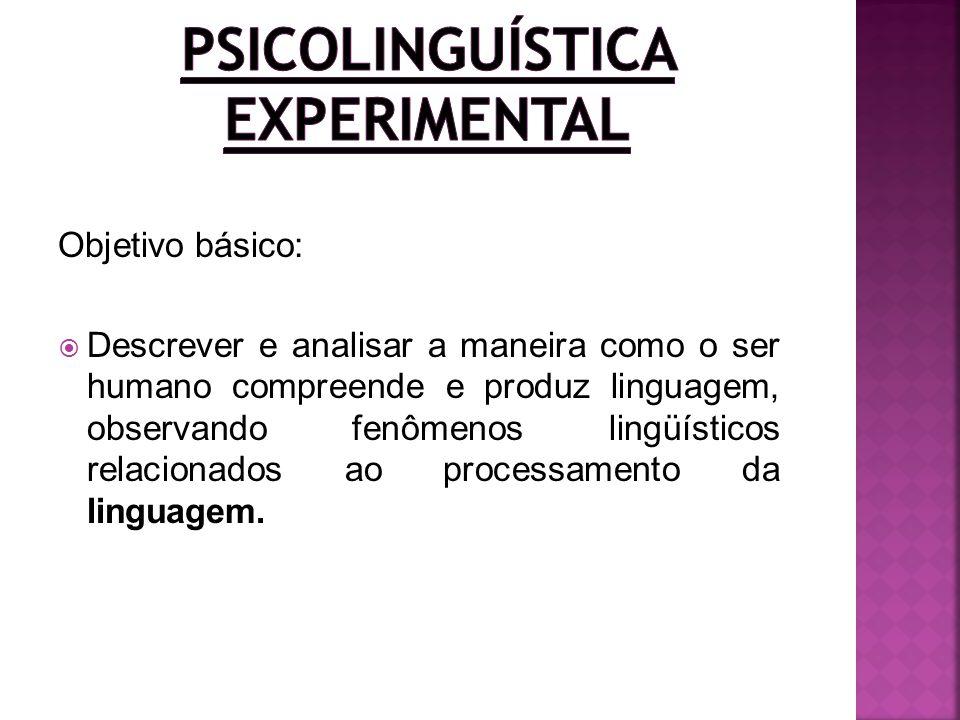 Objetivo básico: Descrever e analisar a maneira como o ser humano compreende e produz linguagem, observando fenômenos lingüísticos relacionados ao pro