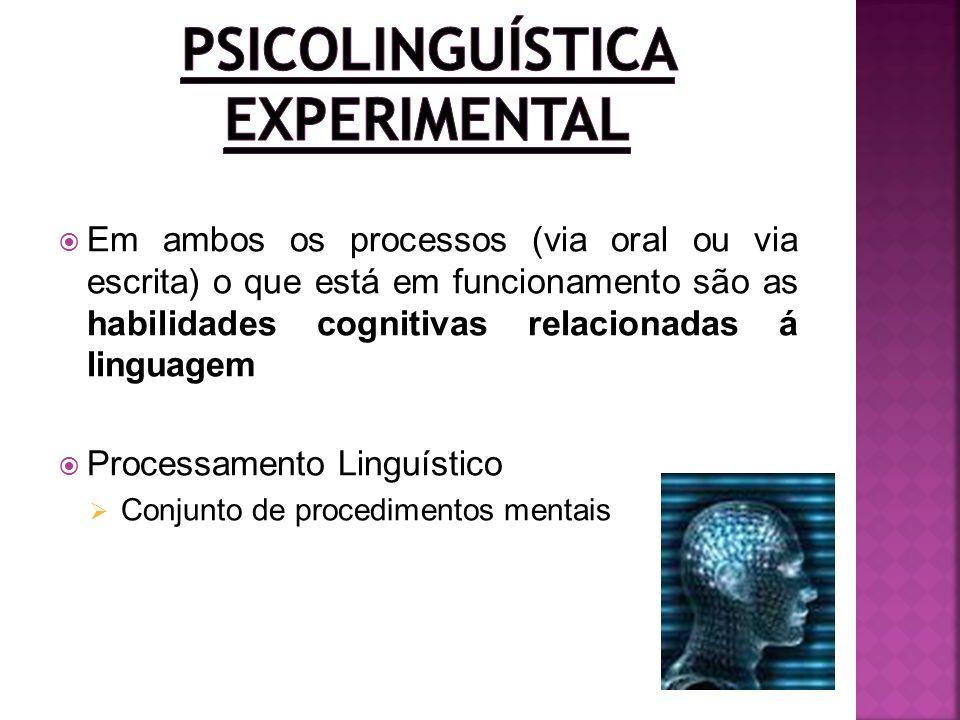 Em ambos os processos (via oral ou via escrita) o que está em funcionamento são as habilidades cognitivas relacionadas á linguagem Processamento Lingu