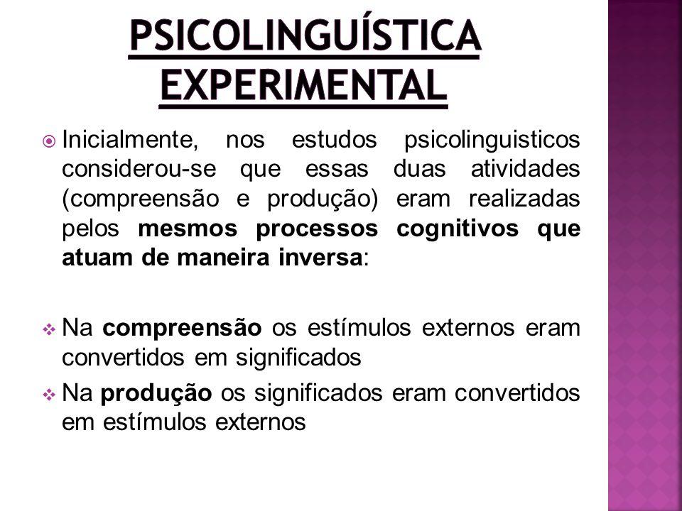 Inicialmente, nos estudos psicolinguisticos considerou-se que essas duas atividades (compreensão e produção) eram realizadas pelos mesmos processos co