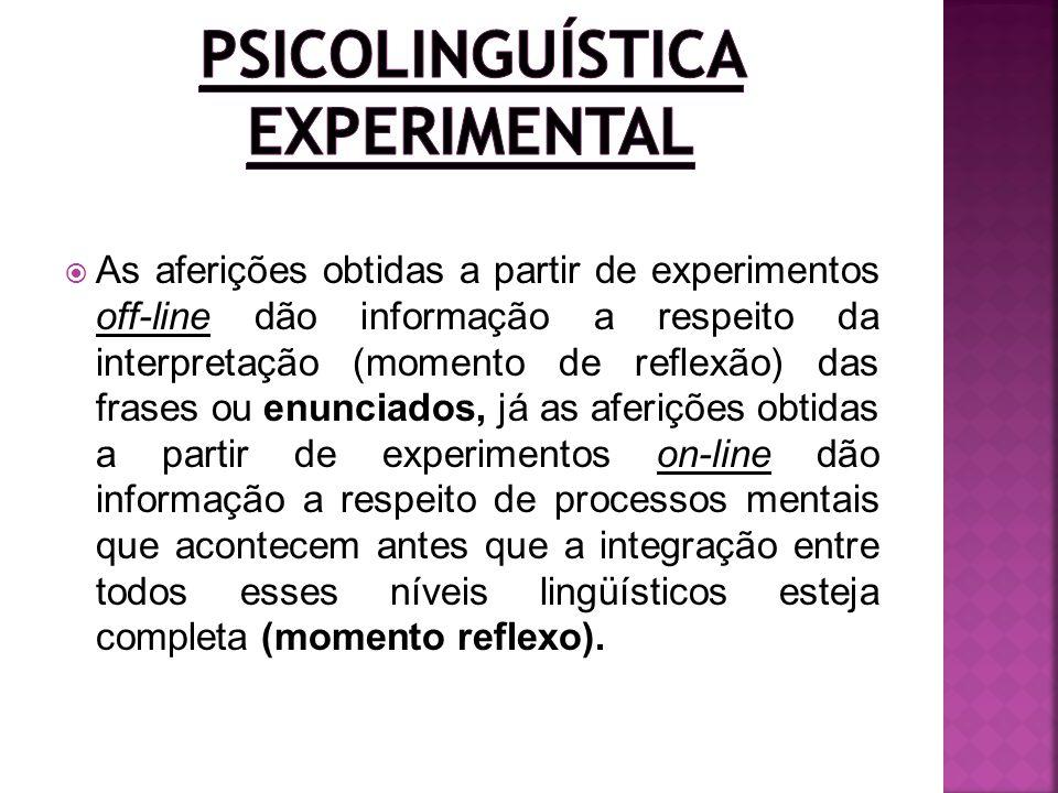 As aferições obtidas a partir de experimentos off-line dão informação a respeito da interpretação (momento de reflexão) das frases ou enunciados, já a