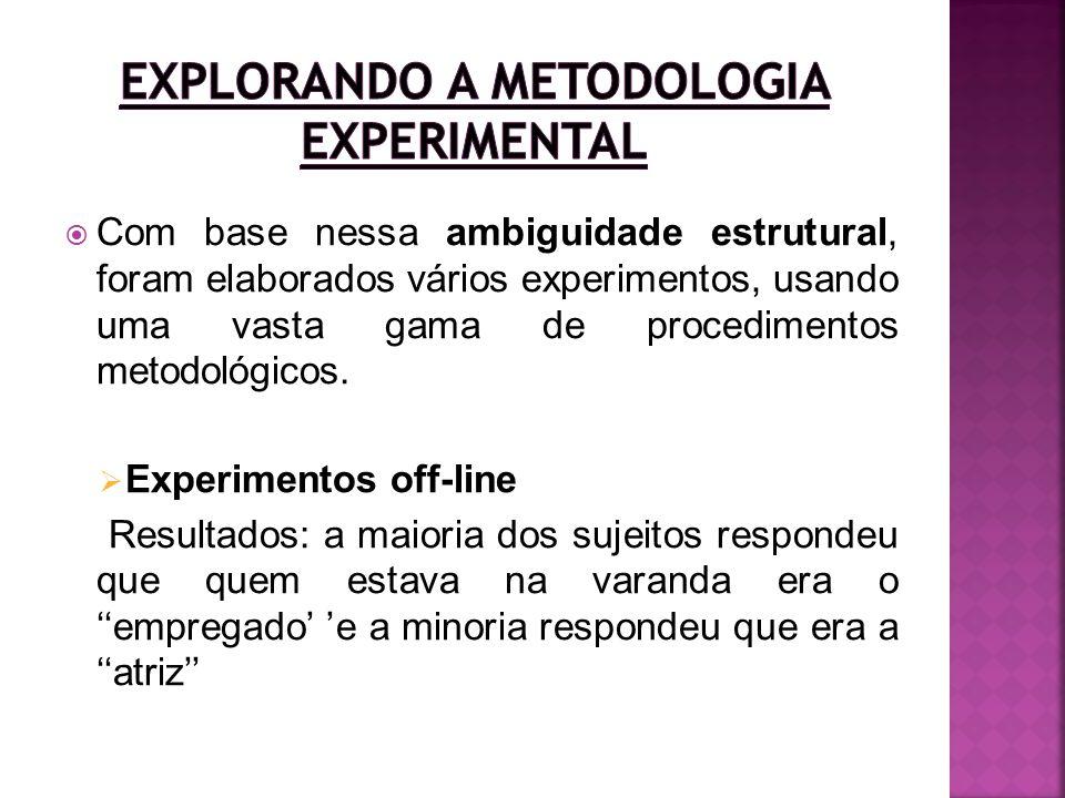 Com base nessa ambiguidade estrutural, foram elaborados vários experimentos, usando uma vasta gama de procedimentos metodológicos. Experimentos off-li