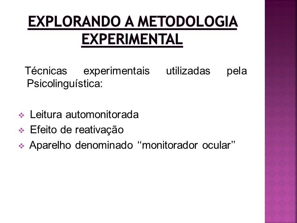 Técnicas experimentais utilizadas pela Psicolinguística: Leitura automonitorada Efeito de reativação Aparelho denominado monitorador ocular