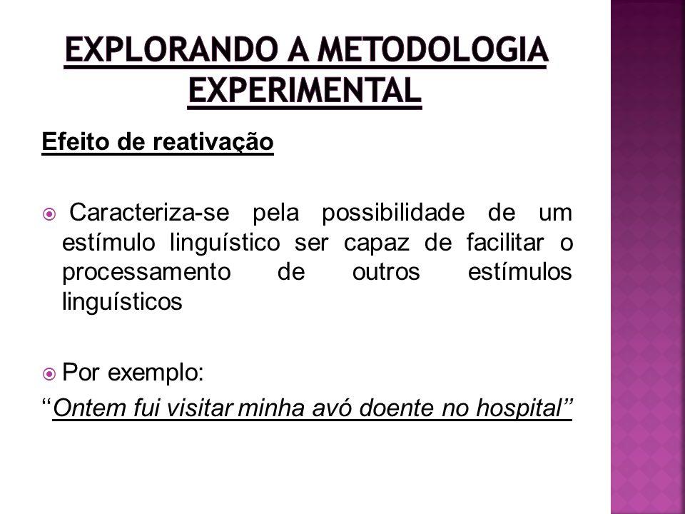 Efeito de reativação Caracteriza-se pela possibilidade de um estímulo linguístico ser capaz de facilitar o processamento de outros estímulos linguísti
