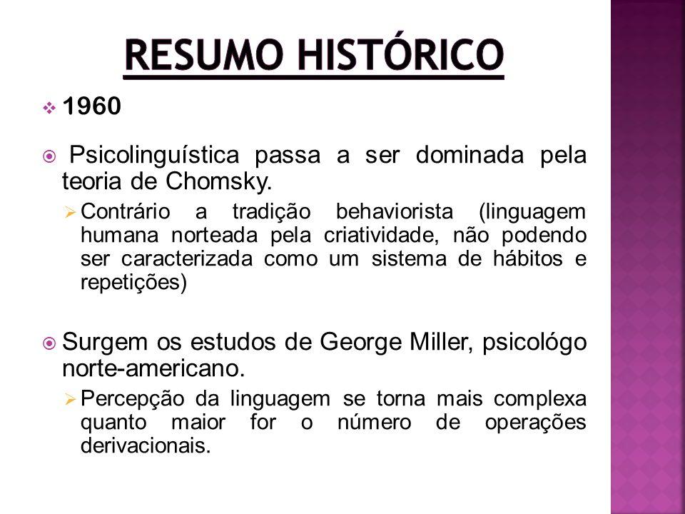 1960 Psicolinguística passa a ser dominada pela teoria de Chomsky. Contrário a tradição behaviorista (linguagem humana norteada pela criatividade, não