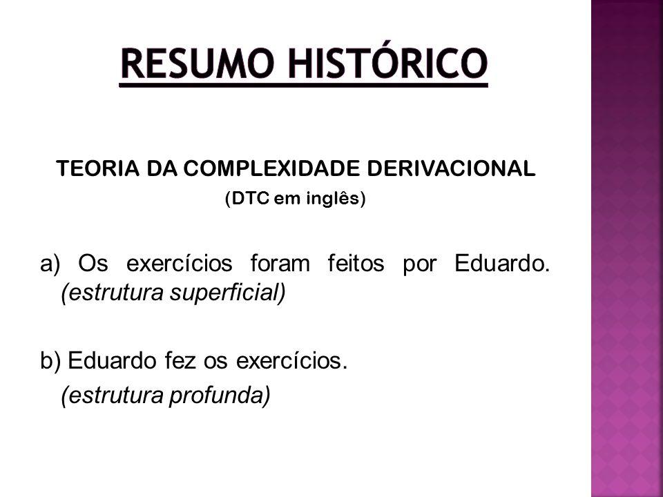 TEORIA DA COMPLEXIDADE DERIVACIONAL (DTC em inglês) a) Os exercícios foram feitos por Eduardo. (estrutura superficial) b) Eduardo fez os exercícios. (