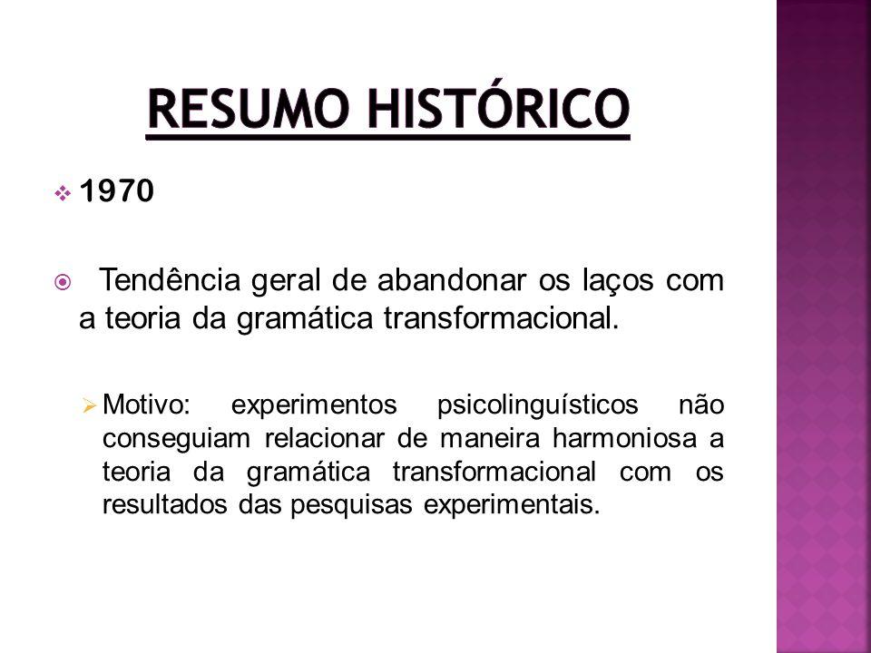 1970 Tendência geral de abandonar os laços com a teoria da gramática transformacional. Motivo: experimentos psicolinguísticos não conseguiam relaciona