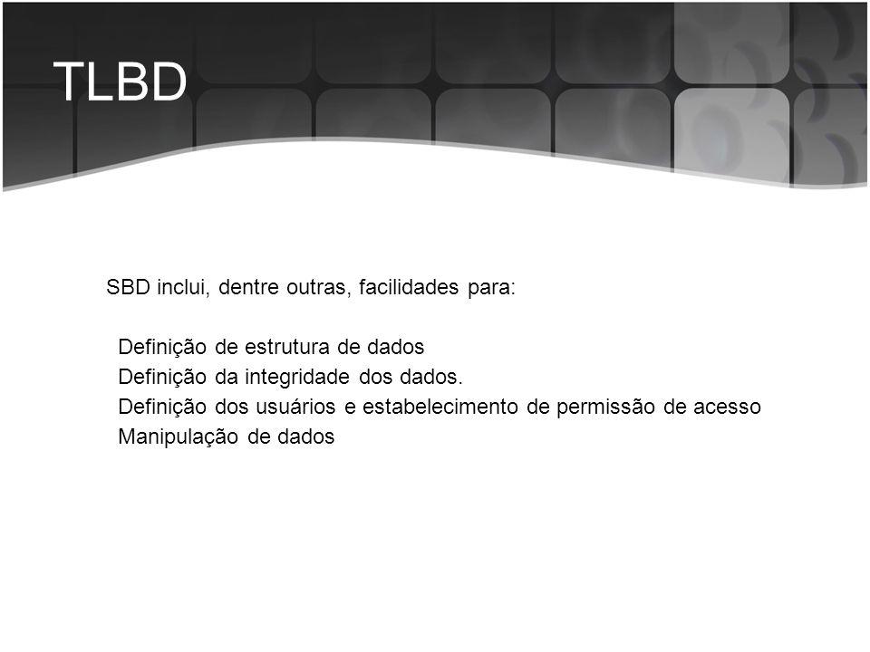 TLBD SBD inclui, dentre outras, facilidades para: Definição de estrutura de dados Definição da integridade dos dados. Definição dos usuários e estabel