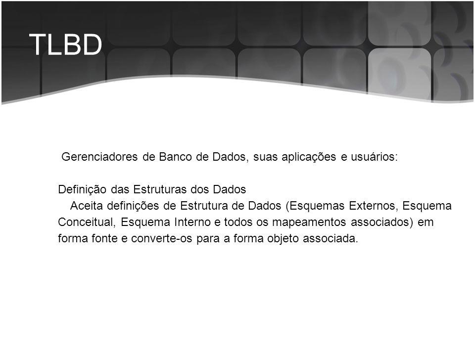 TLBD Gerenciadores de Banco de Dados, suas aplicações e usuários: Definição das Estruturas dos Dados Aceita definições de Estrutura de Dados (Esquemas