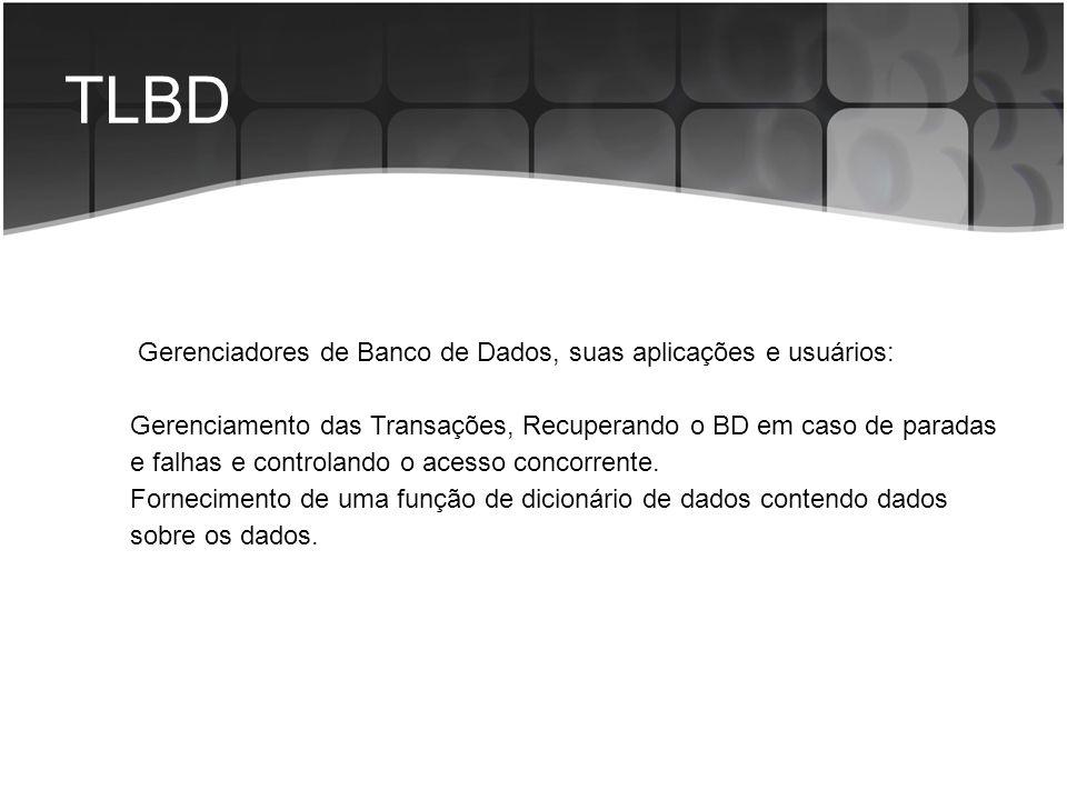 TLBD Gerenciadores de Banco de Dados, suas aplicações e usuários: Gerenciamento das Transações, Recuperando o BD em caso de paradas e falhas e control