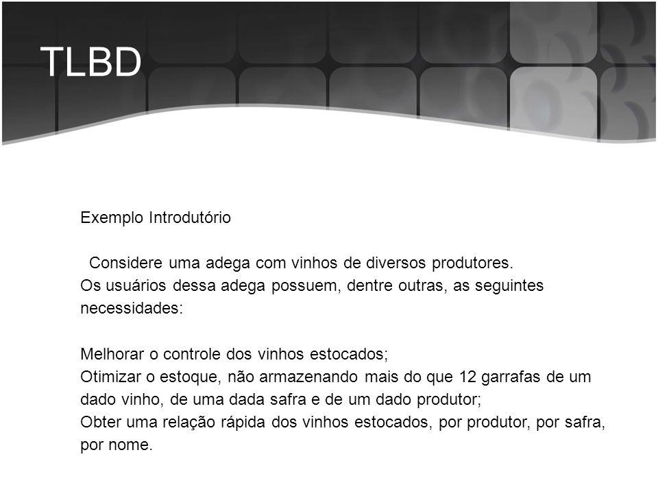 TLBD Exemplo Introdutório Considere uma adega com vinhos de diversos produtores. Os usuários dessa adega possuem, dentre outras, as seguintes necessid