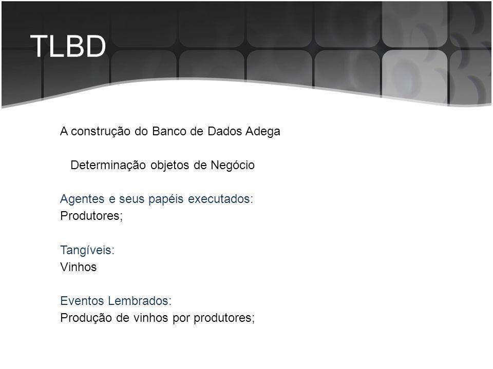 TLBD A construção do Banco de Dados Adega Determinação objetos de Negócio Agentes e seus papéis executados: Produtores; Tangíveis: Vinhos Eventos Lemb