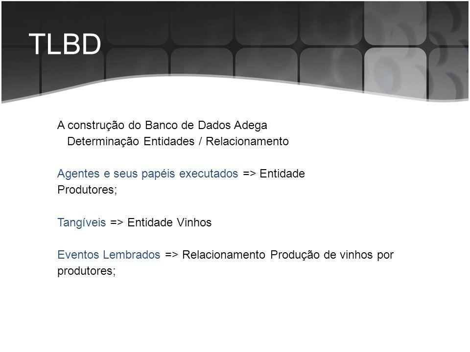 TLBD A construção do Banco de Dados Adega Determinação Entidades / Relacionamento Agentes e seus papéis executados => Entidade Produtores; Tangíveis =