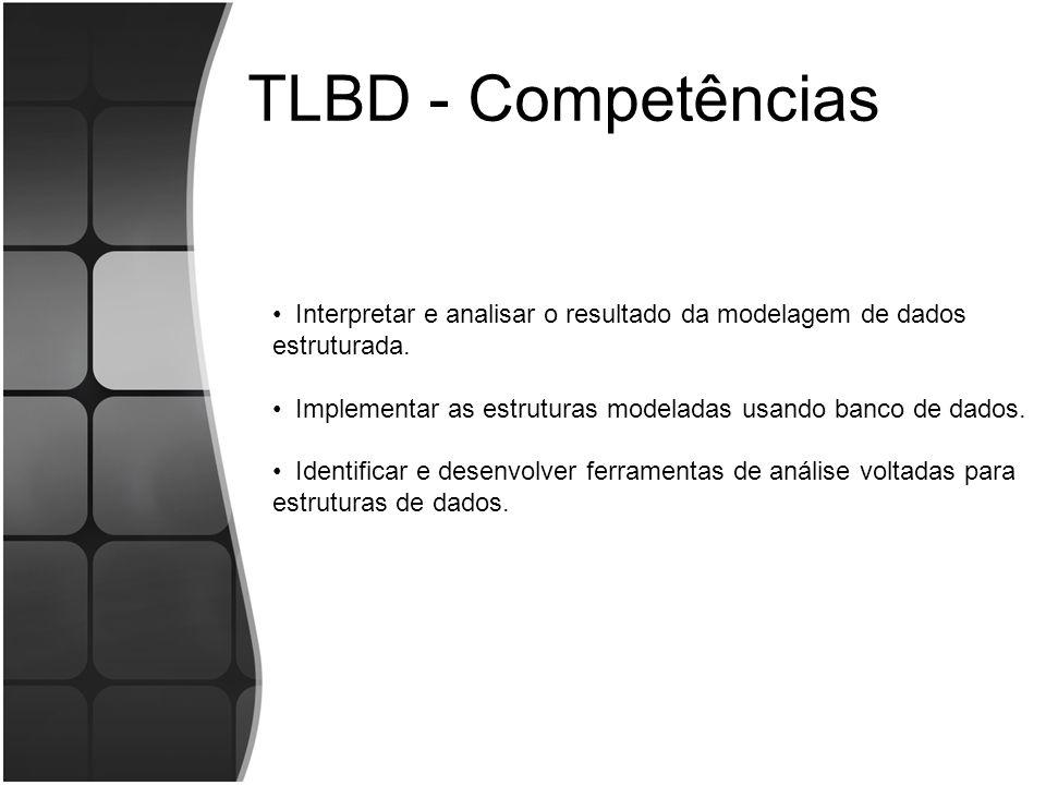 TLBD - Competências Interpretar e analisar o resultado da modelagem de dados estruturada. Implementar as estruturas modeladas usando banco de dados. I