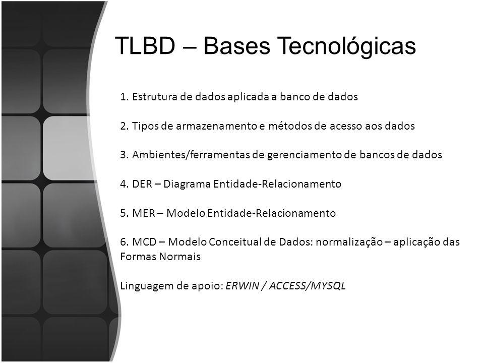 TLBD – Bases Tecnológicas 1. Estrutura de dados aplicada a banco de dados 2. Tipos de armazenamento e métodos de acesso aos dados 3. Ambientes/ferrame