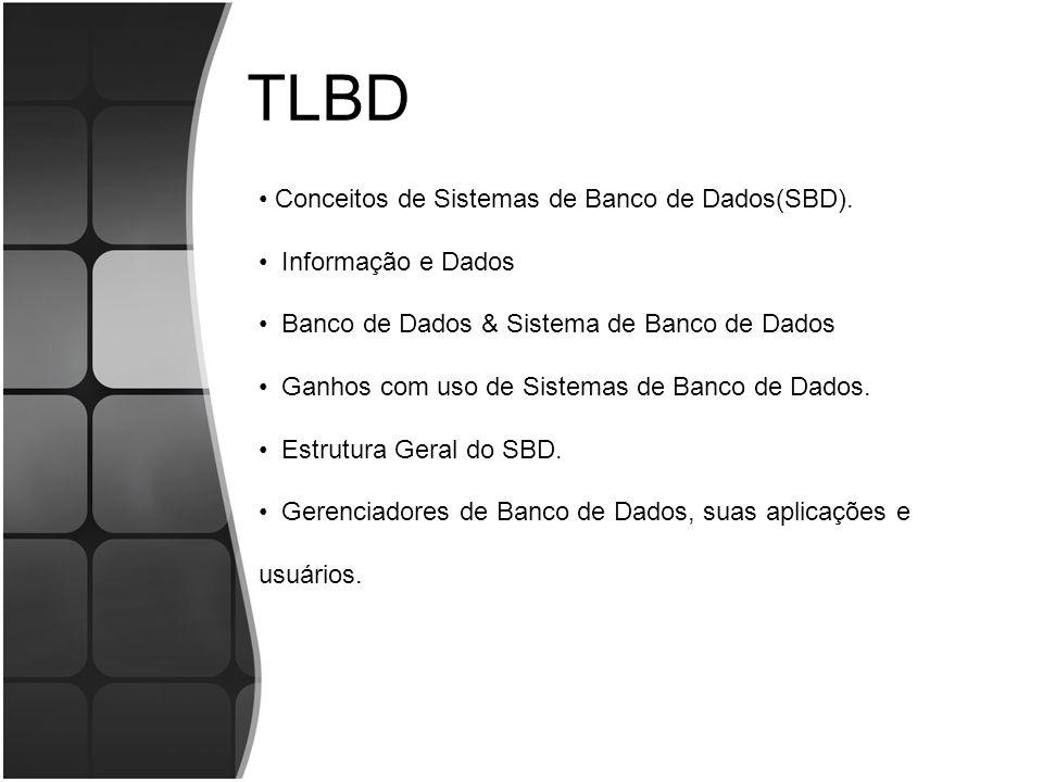 TLBD Conceitos de Sistemas de Banco de Dados(SBD). Informação e Dados Banco de Dados & Sistema de Banco de Dados Ganhos com uso de Sistemas de Banco d