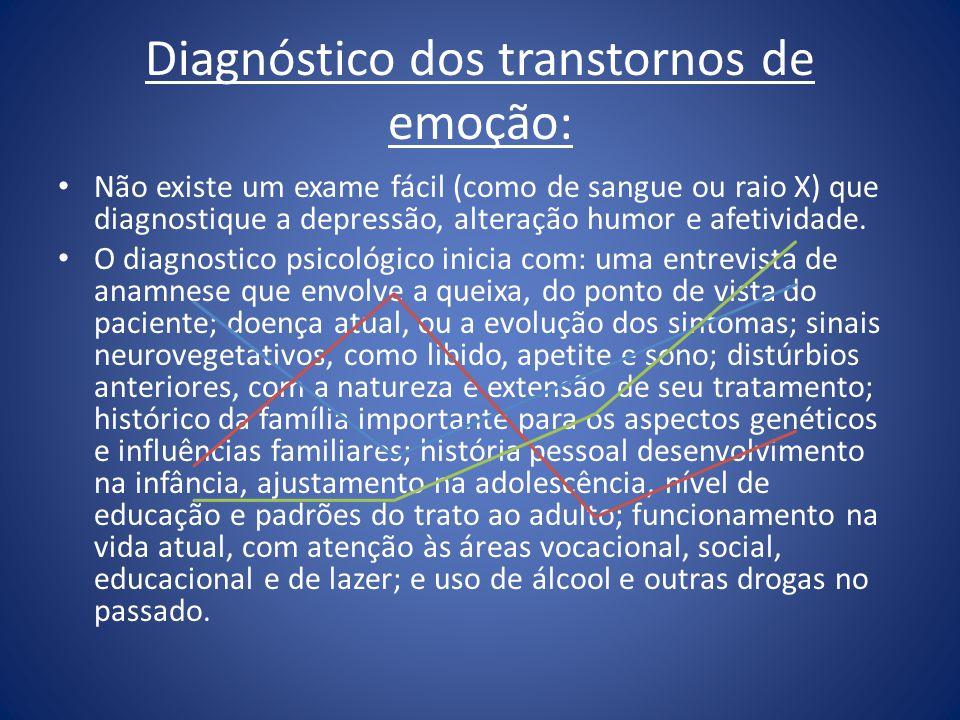 Diagnóstico dos transtornos de emoção: Não existe um exame fácil (como de sangue ou raio X) que diagnostique a depressão, alteração humor e afetividad