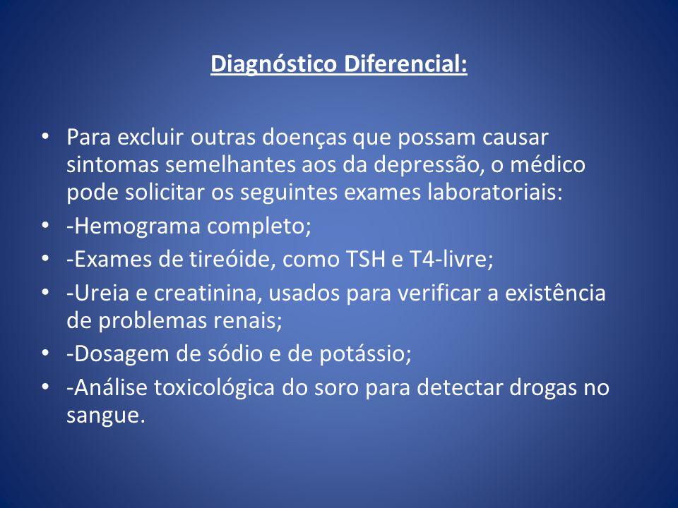 Diagnóstico Diferencial: Para excluir outras doenças que possam causar sintomas semelhantes aos da depressão, o médico pode solicitar os seguintes exa