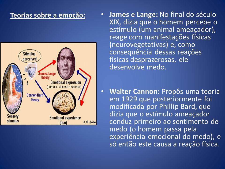 Teorias sobre a emoção: James e Lange: No final do século XIX, dizia que o homem percebe o estímulo (um animal ameaçador), reage com manifestações fís