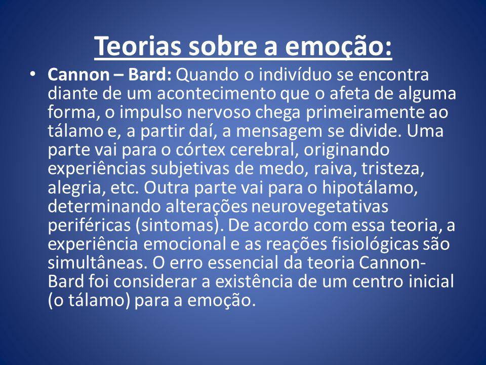 Teorias sobre a emoção: Cannon – Bard: Quando o indivíduo se encontra diante de um acontecimento que o afeta de alguma forma, o impulso nervoso chega