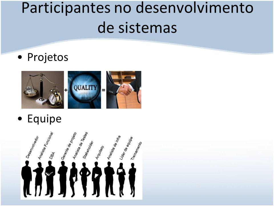 Participantes no desenvolvimento de sistemas Participantes podem exercer mais de um papel na equipe.