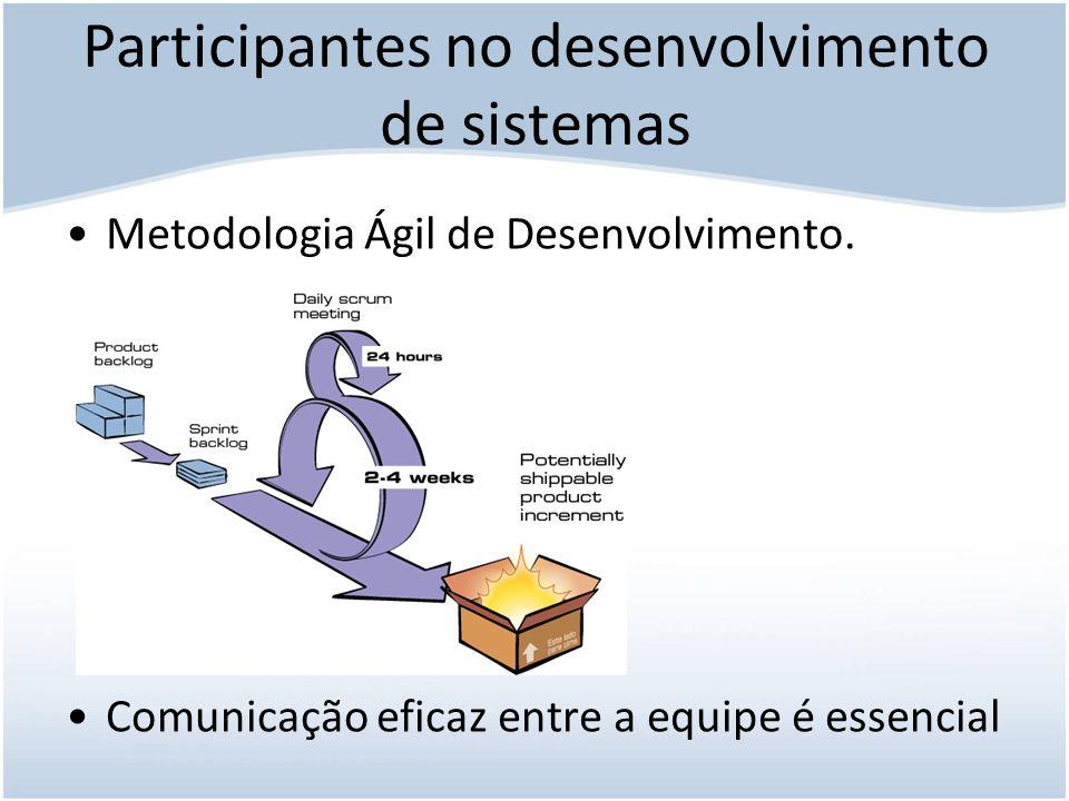 Participantes no desenvolvimento de sistemas Usuários Usuários que não concordam com o sistema.