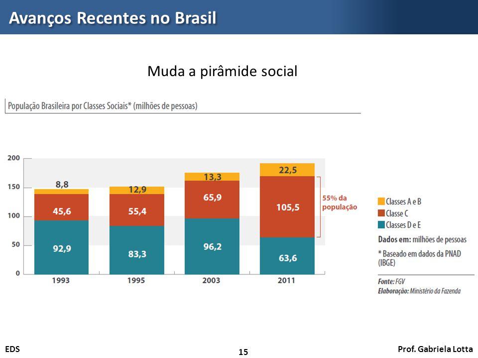 Prof. Gabriela LottaEDS Avanços Recentes no Brasil 15 Muda a pirâmide social