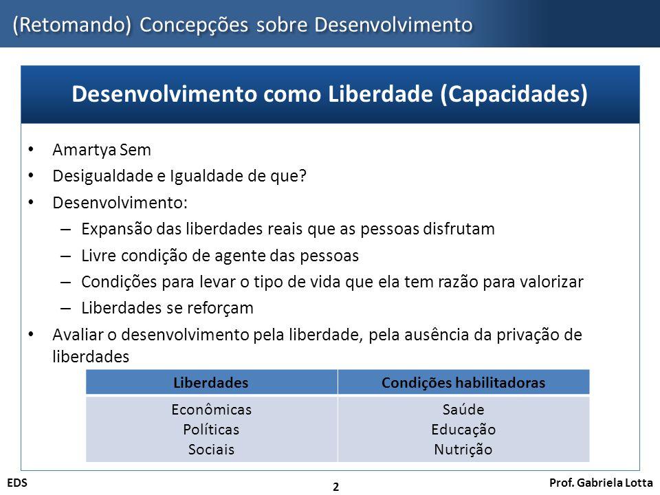 Prof. Gabriela LottaEDS (Retomando) Concepções sobre Desenvolvimento 2 Amartya Sem Desigualdade e Igualdade de que? Desenvolvimento: – Expansão das li